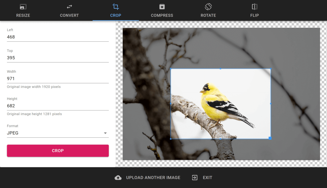 PhotoUtils screenshot: how to crop a rectangle area from the image